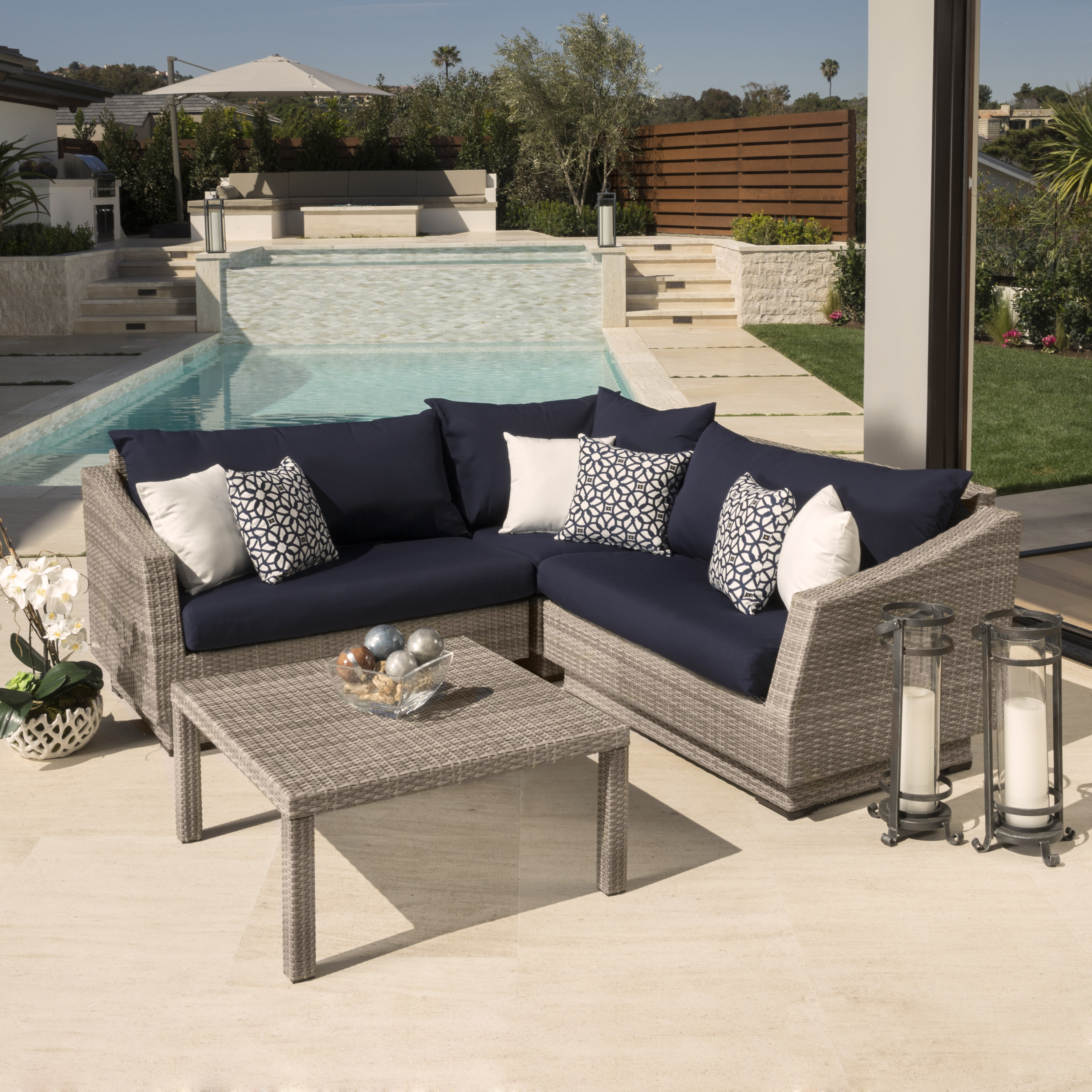 Castelli 4 Piece Rattan Sectional Seating Group With Cushions Pertaining To Well Liked Castelli Loveseats With Cushions (View 2 of 20)