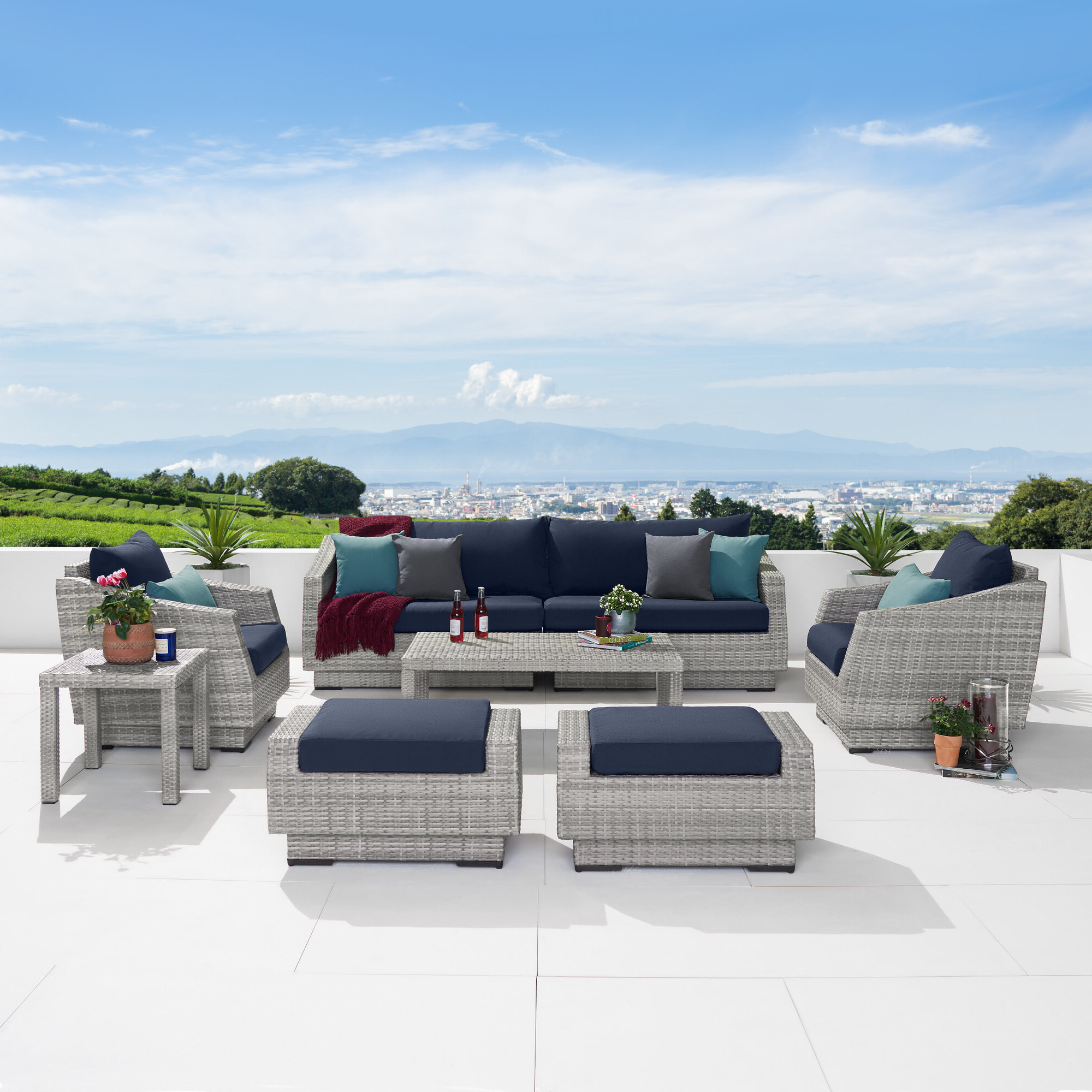 Castelli Patio Sofas With Sunbrella Cushions In 2019 Castelli 8 Piece Rattan Sofa Seating Group With Cushions (View 6 of 20)