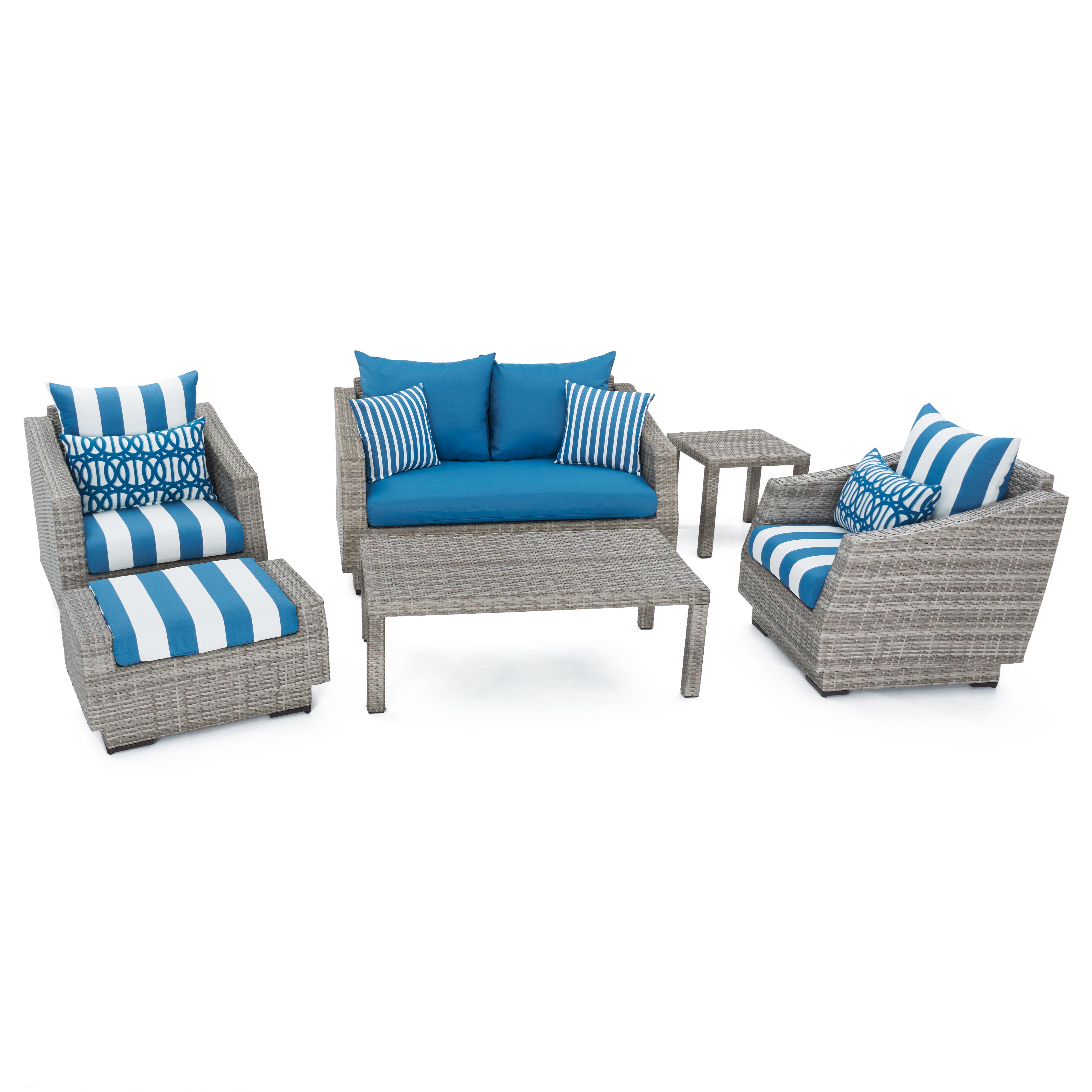 Castelli Patio Sofas With Sunbrella Cushions Pertaining To Well Known Castelli 6 Piece Rattan Sunbrella Sofa Set With Cushions (View 7 of 20)