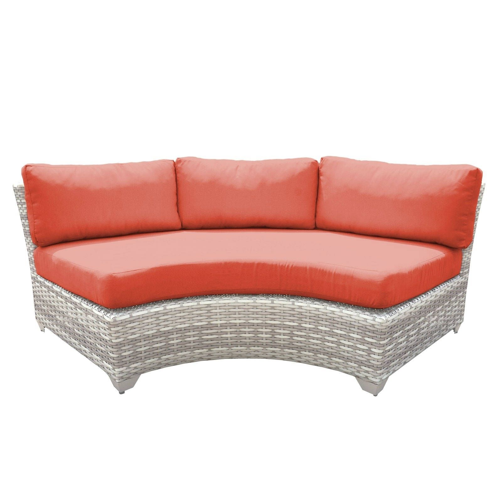 Catamaran Outdoor Patio Curved Wicker Sofa (Tangerine), Grey For 2019 Waterbury Curved Armless Sofa With Cushions (View 5 of 20)