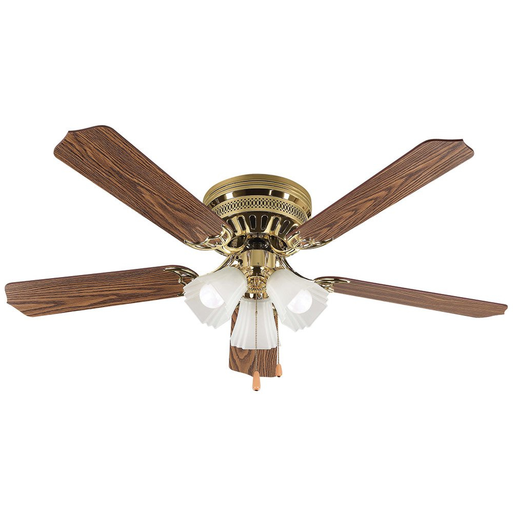 """Ceiling Fans – 52"""" Ceiling Fan In Polished Brass With With Most Up To Date Sherwood 3 Blade Ceiling Fans (View 7 of 20)"""