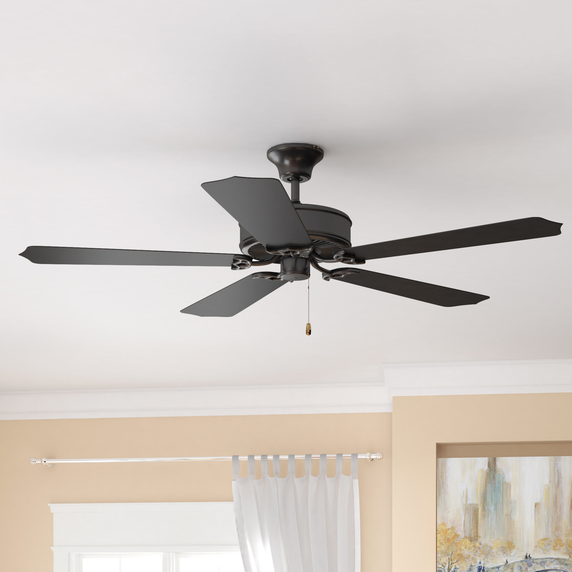 "Charlton Home 52"" Blomquist 5 Blade Outdoor Ceiling Fan Within Newest Cassius 3 Blade Outdoor Ceiling Fans (View 11 of 20)"