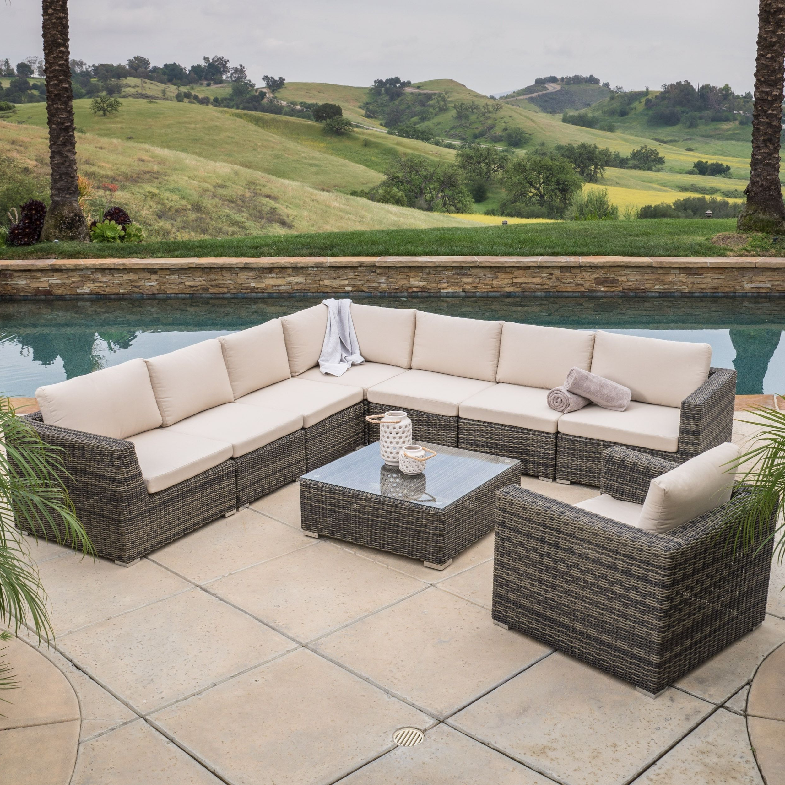 Christopher Knight Home Santa Rosa 9 Piece Outdoor Sofa Within Current Lorentzen Patio Sectionals With Cushions (View 1 of 20)