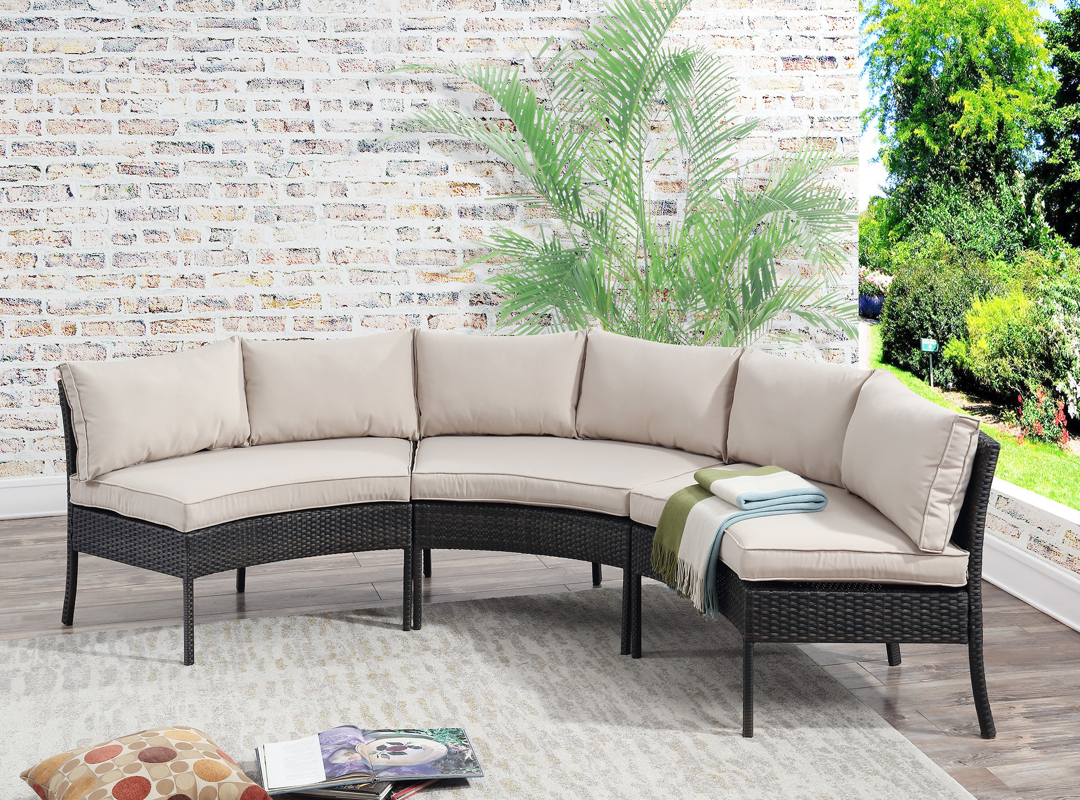 Clifford Patio Sofas With Cushions Within 2020 Purington Circular Patio Sectional With Cushions (View 4 of 20)