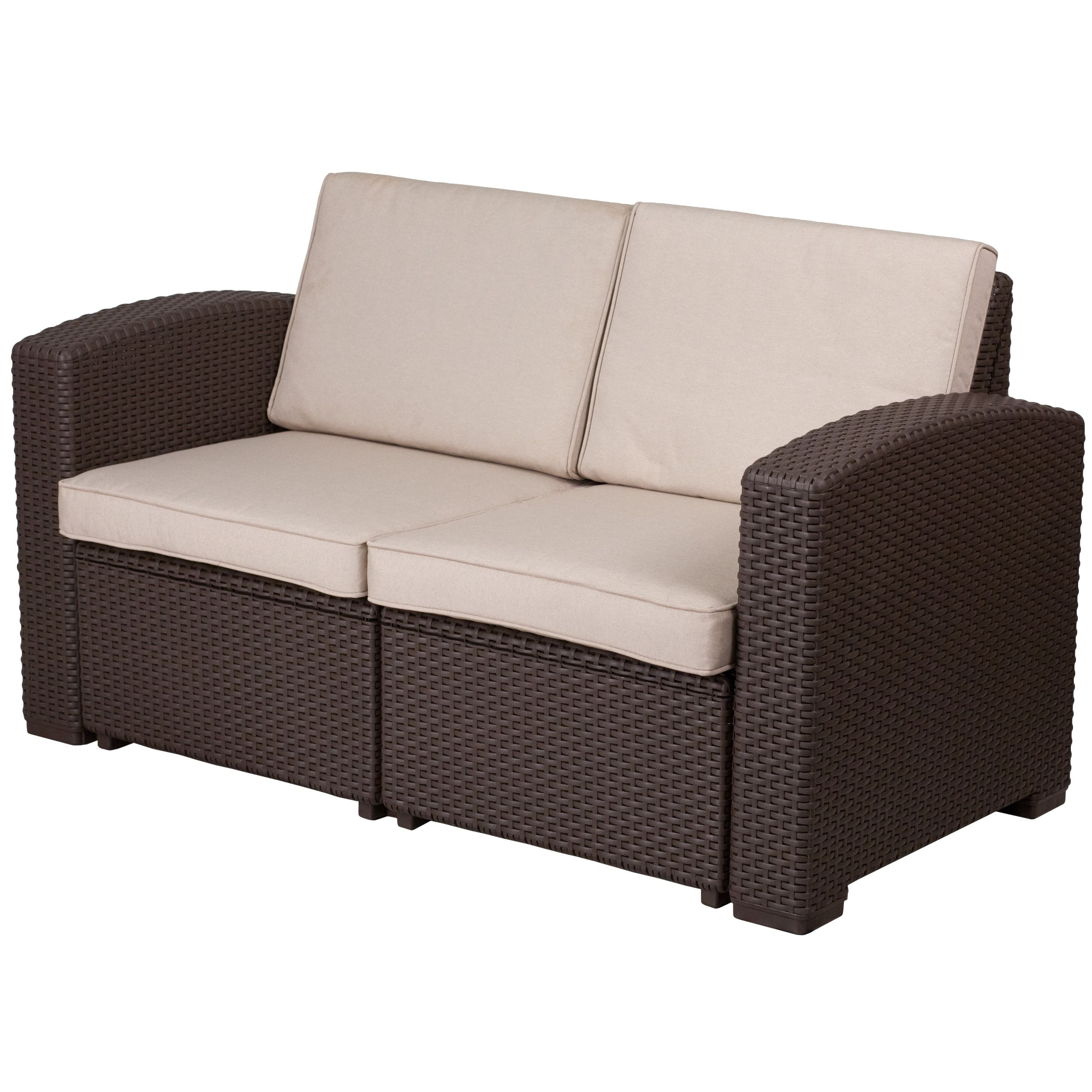 Clifford Patio Sofas With Cushions Within Favorite Faux Rattan Loveseat With All Weather Cushions (Chocolate (View 5 of 20)