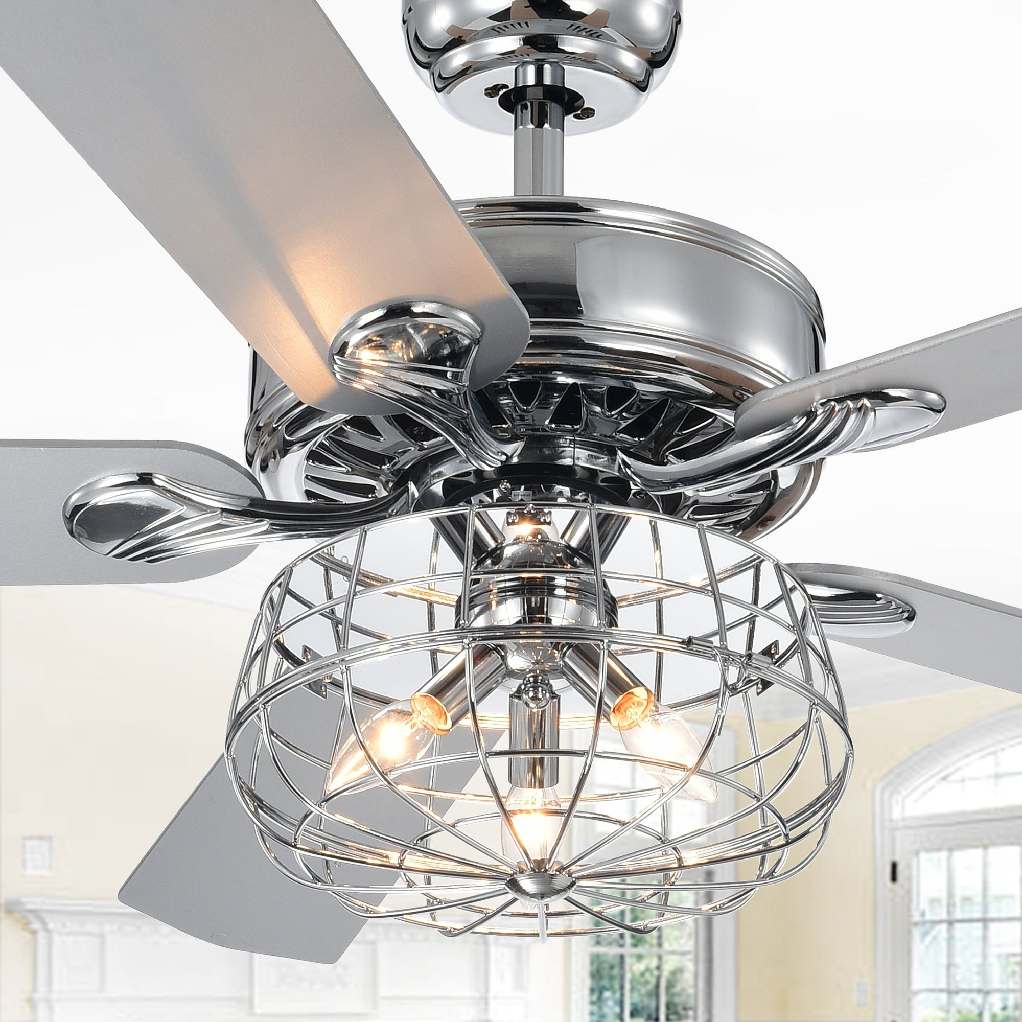 Clybourn 5 Blade Ceiling Fans Pertaining To Recent Imberts Chrome 52 Inch 5 Blade Lighted Ceiling Fan With Cage Chandelier  (Includes Remote And 2 Blade Color Options) (View 7 of 20)