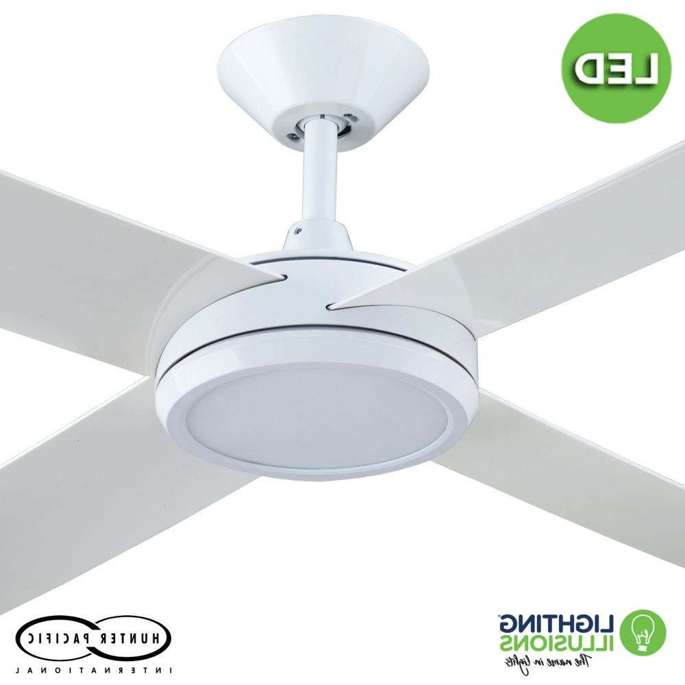 "Concept 3 Blade Led Ceiling Fans Intended For Latest White Concept 3 52"" (1320Mm) Polymer Blade Ceiling Fan With 24W Dimmable Led Light (View 6 of 20)"