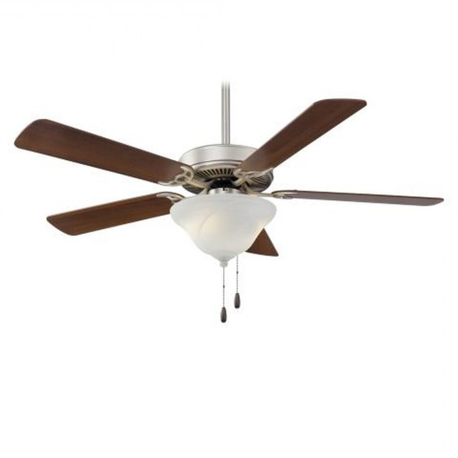 Contractor 5 Blade Ceiling Fans With Regard To Most Recently Released Minka Aire F648 Bs Contractor Uni Pack 2 Light 52 Inch Ceiling Fan In Brushed Steel With 5 Dark Walnut Blade And Etched Glass Shade (View 19 of 20)