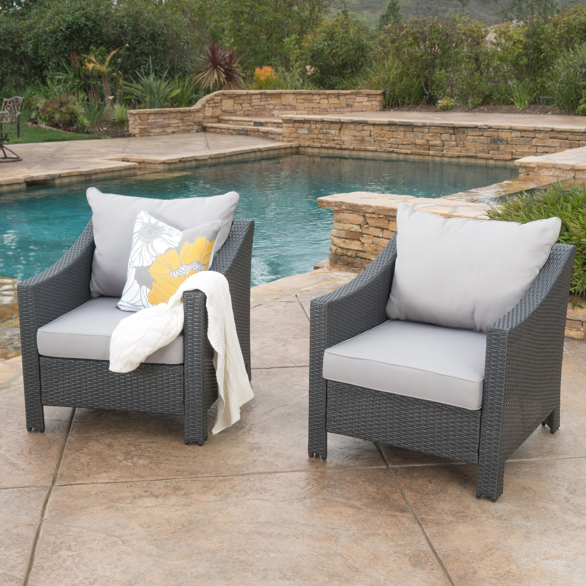 Cortez Outdoor Wicker Club Chair W/ Water Resistant Cushions Throughout Latest Lavina Outdoor Patio Daybeds With Cushions (View 17 of 20)
