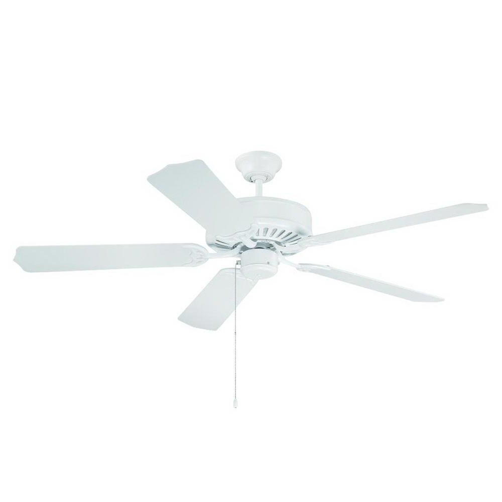 Craftmade C52W Industrial Ceiling Fan 52 Inch 5 Blade 3 Speed White Pro  Builder For Preferred Builder 5 Blade Ceiling Fans (View 13 of 20)