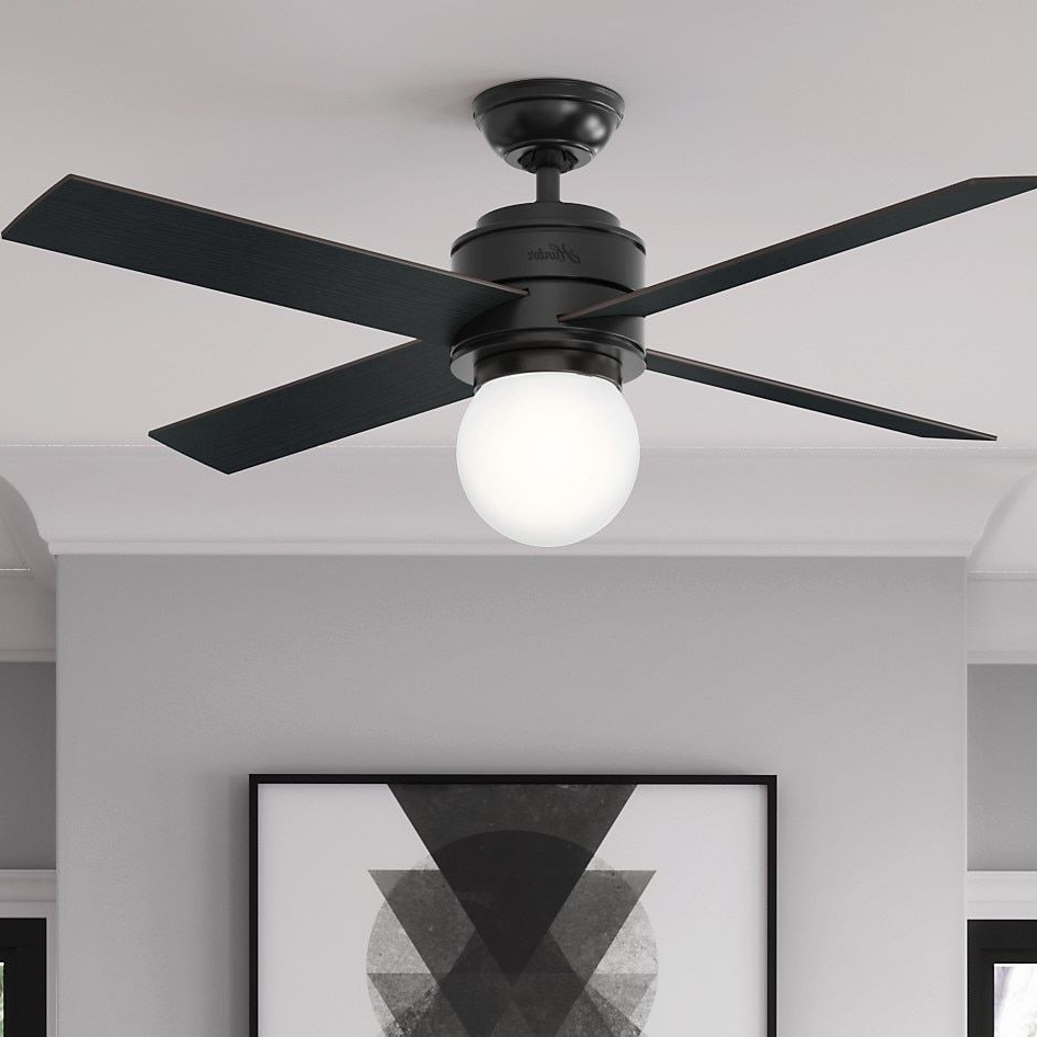 Cranbrook 4 Blade Ceiling Fans Pertaining To Widely Used Hunter Fan Hepburn Matte Black 52 Inch Ceiling Fan With  (View 7 of 20)