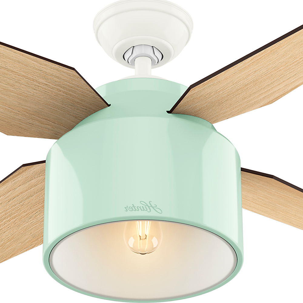 """Cranbrook 4 Blade Ceiling Fans With Popular Hunter 52"""" Cranbrook Mint Ceiling Fan With Light With Handheld Remote (View 6 of 20)"""