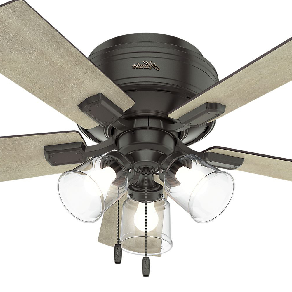 "Crestfield 5 Blade Ceiling Fans With Trendy 42"" Hunter Crestfield Low Profile With 3 Light Kit Noble Bronze Ceiling Fan  With Led Light Kit (View 8 of 20)"