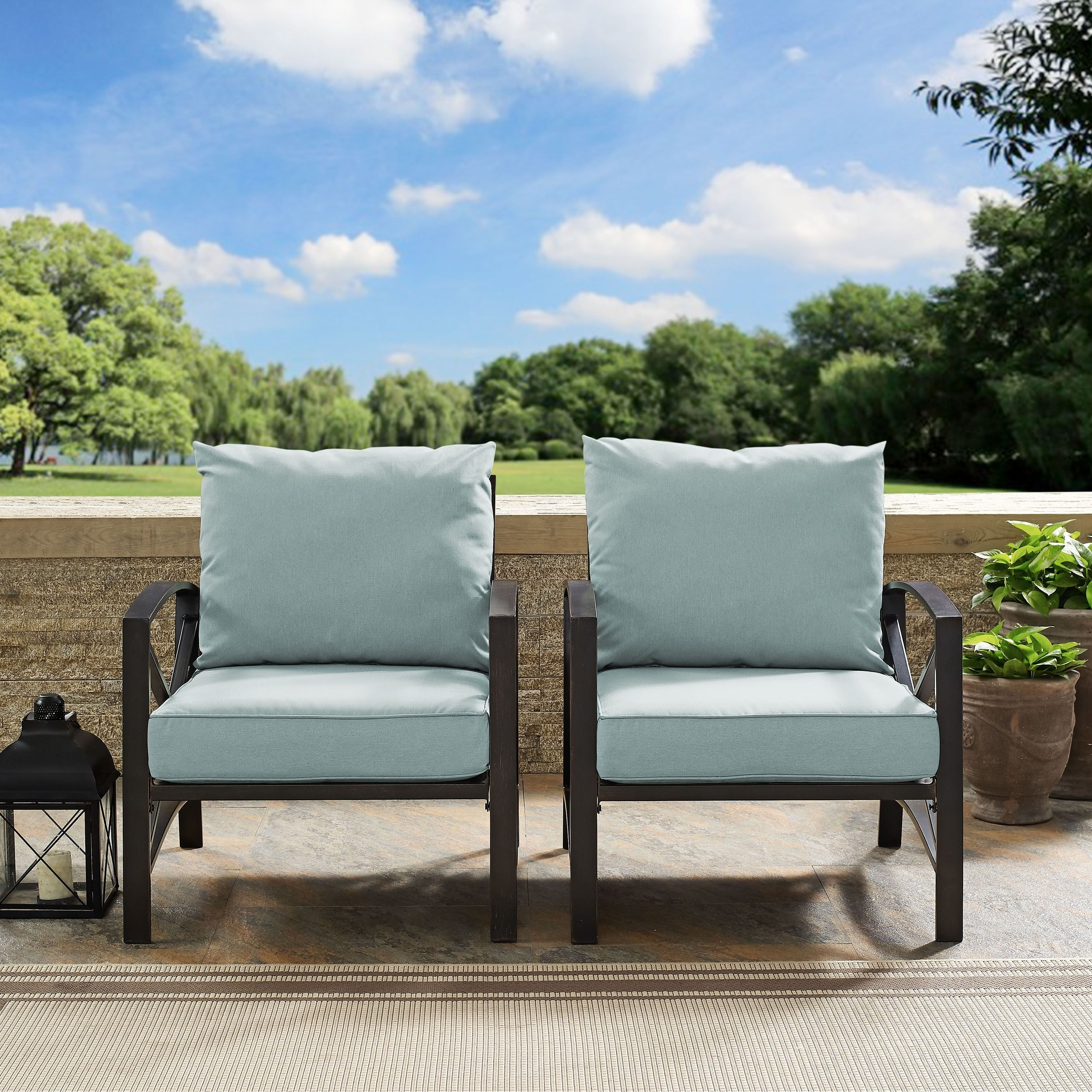 Crosley Kaplan 2 Pc Outdoor Seating Set With Mist Cushion Intended For Most Up To Date Englewood Loveseats With Cushions (View 3 of 20)