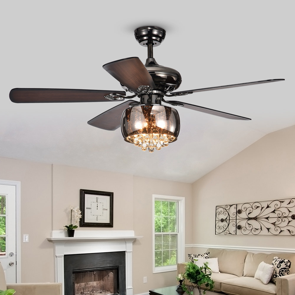 "Crumbley 5 Blade Ceiling Fans Pertaining To Most Popular 52"" Lakey 5 Blade Ceiling Fan, Light Kit Included (View 7 of 20)"