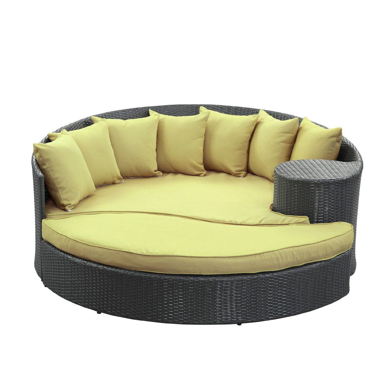 Current Amazon : Lexmod Taiji Outdoor Wicker Patio Daybed With Within Greening Outdoor Daybeds With Ottoman & Cushions (View 2 of 20)