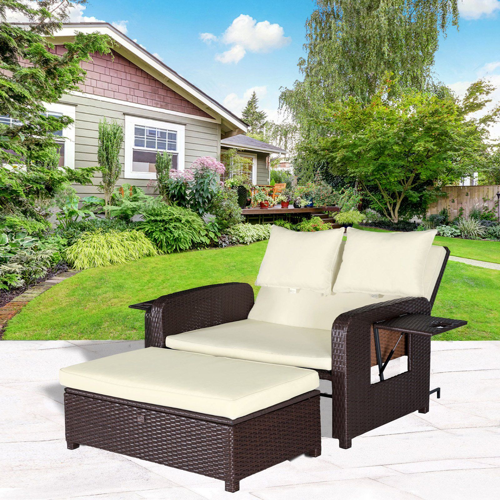 Current Behling Canopy Patio Daybeds With Cushions With Regard To Outdoor Cloud Mountain Wicker 2 Piece Patio Loveseat Daybed (View 25 of 25)