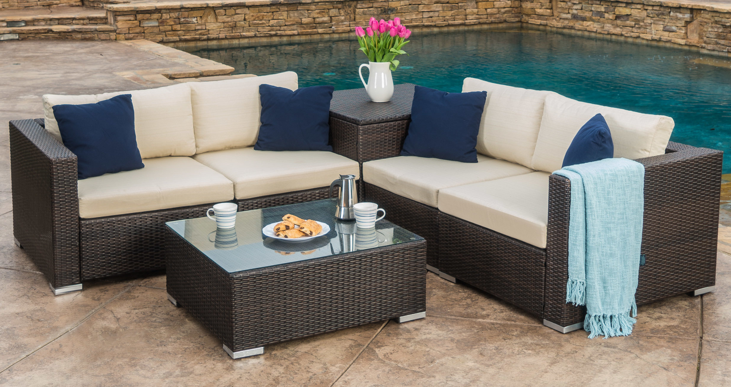 Current Coast 6 Piece Rattan Sectional Seating Group With Cushions For Larsen Patio Sectionals With Cushions (View 2 of 20)