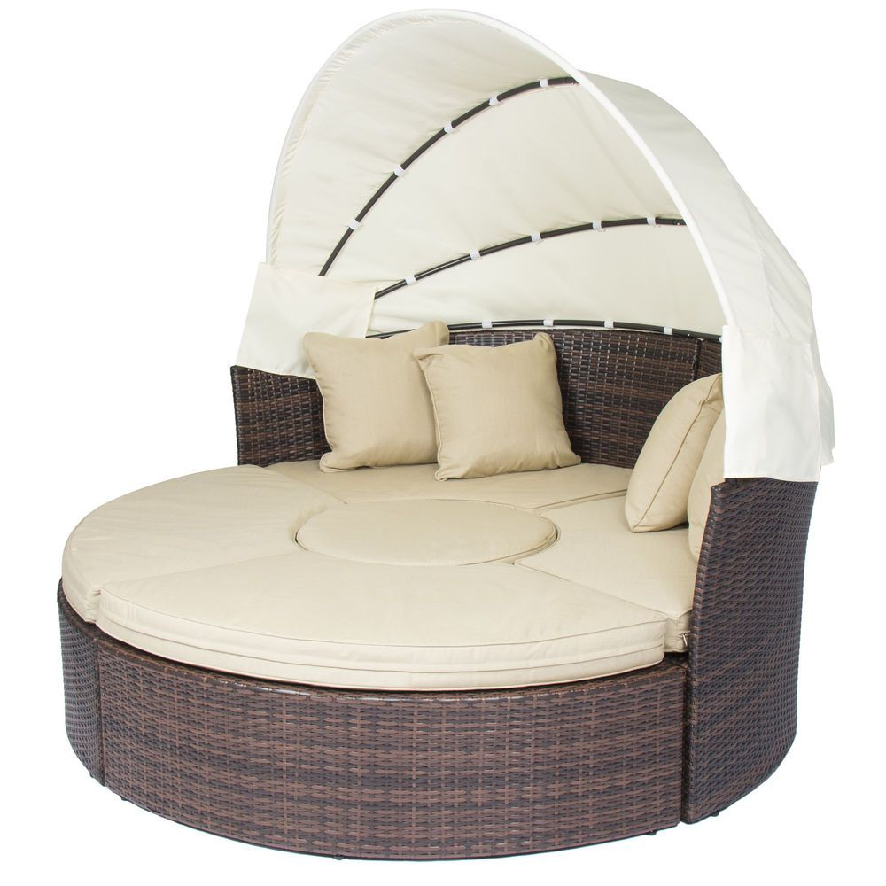 Current Leiston Round Patio Daybeds With Cushions With Outdoor Patio Sofa Furniture Round Retractable Canopy Daybed (View 8 of 20)