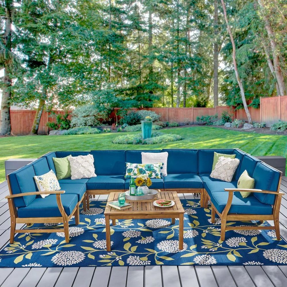 Current Noble House Giancarlo Teak 10 Piece Wood Outdoor Sectional Within Antonia Teak Patio Sectionals With Cushions (View 21 of 25)