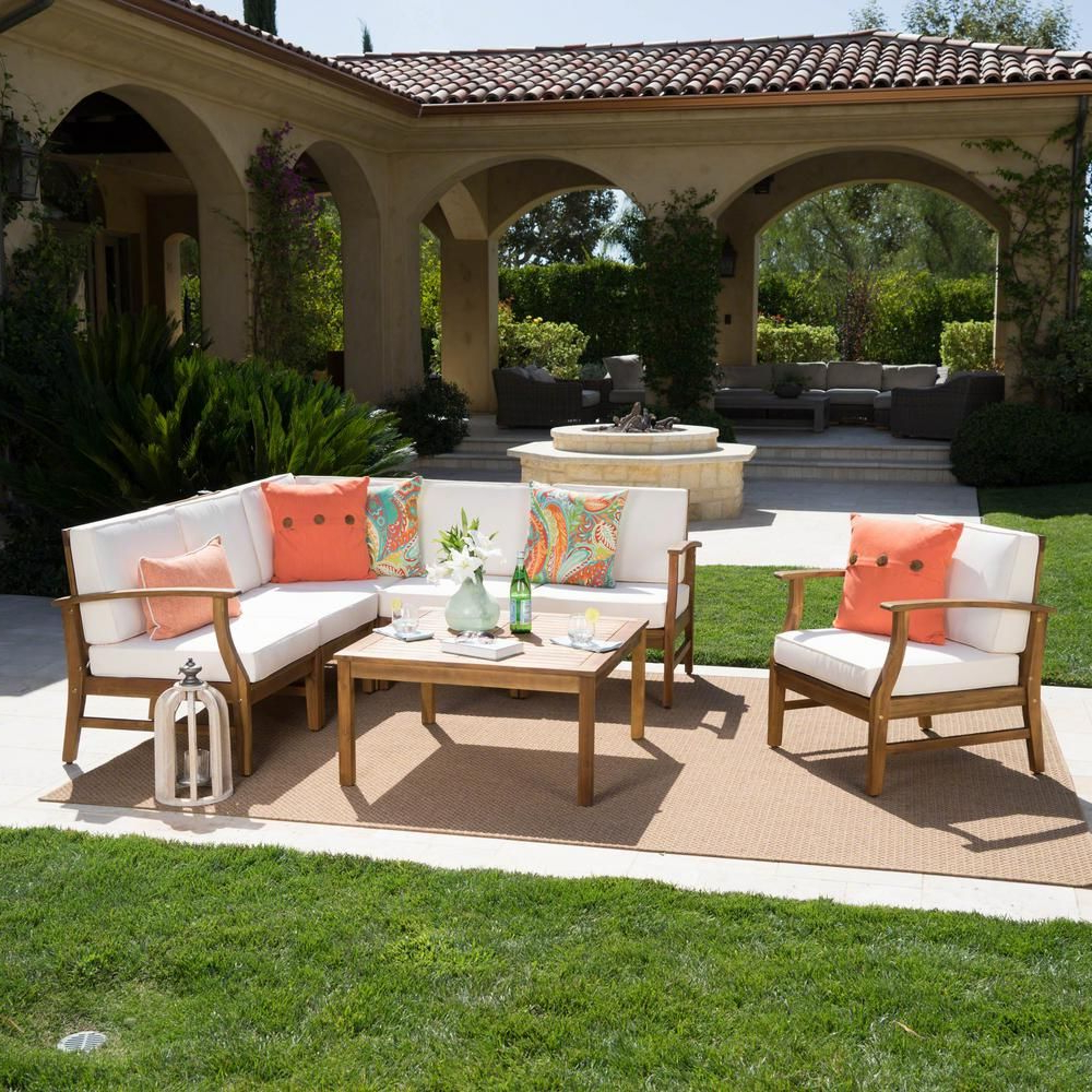 Current Noble House Lilian Teak Finished 7 Piece Wood Outdoor Within Antonia Teak Patio Sectionals With Cushions (View 13 of 25)