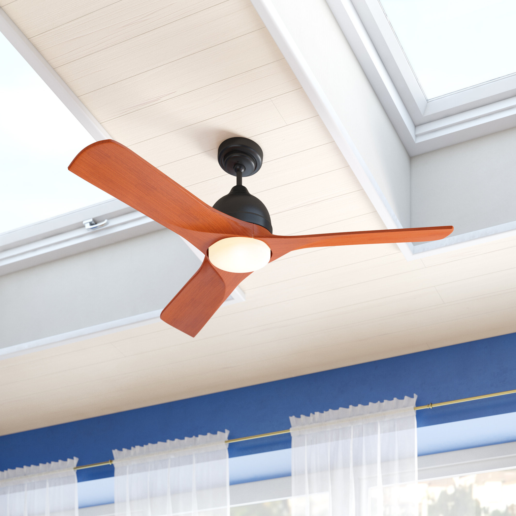 """Current Paige 3 Blade Led Ceiling Fans Inside 54"""" Zilla 3 Blade Outdoor Led Ceiling Fan With Remote, Light Kit Included (View 4 of 20)"""