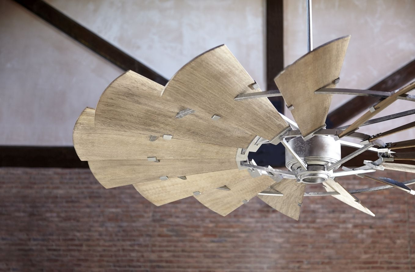 "Current Quorum Windmill 72"" 15 Blade Ceiling Fan In Galvanized With Joanne Windmill 15 Blade Ceiling Fans (View 14 of 20)"