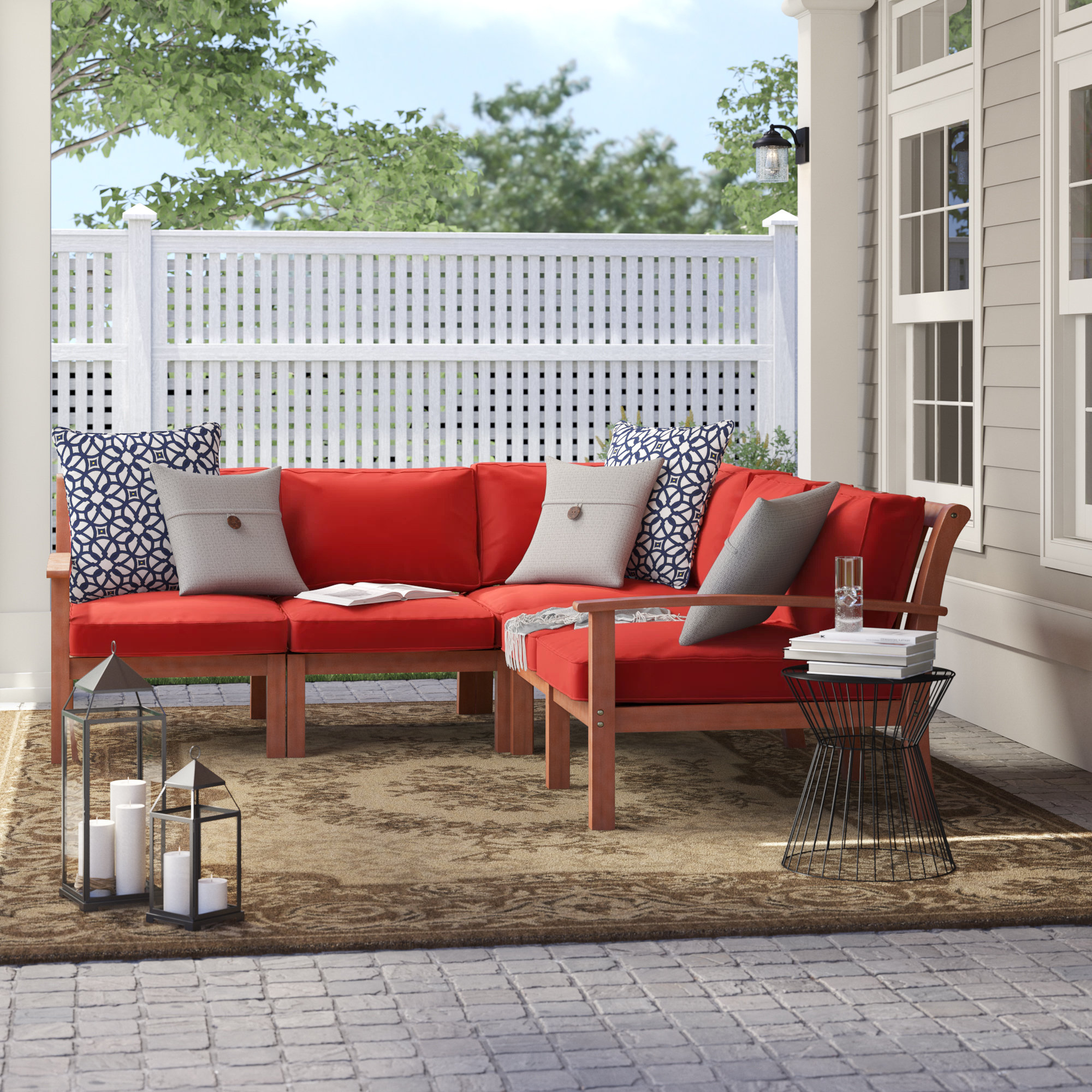 Current Rossi Patio Sectional With Cushions With Regard To Antonia Teak Patio Sectionals With Cushions (View 18 of 25)