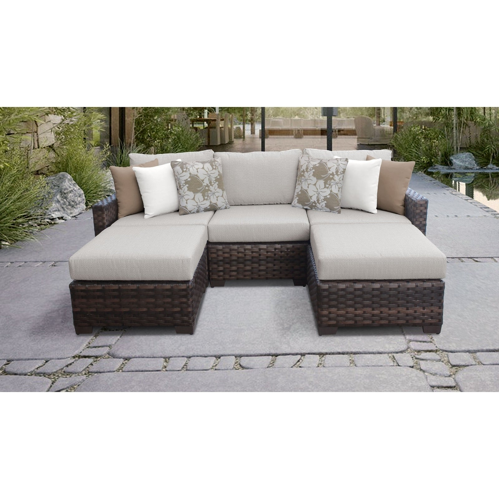 Current Shop Kathy Ireland River Brook 5 Piece Outdoor Wicker Patio In Oreland Patio Sofas With Cushions (View 4 of 20)