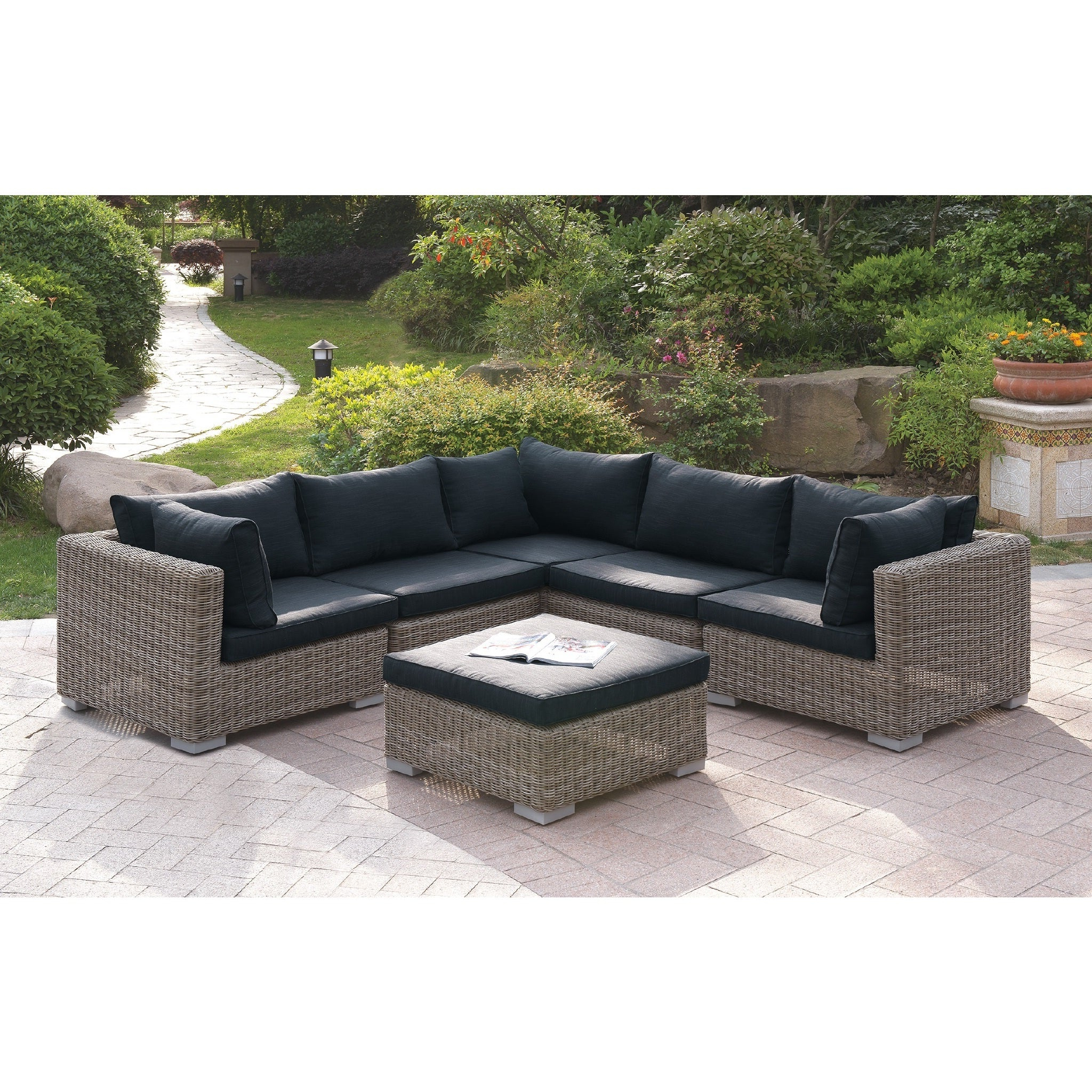 Current Tess Corner Living Patio Sectionals With Cushions Intended For Harvey 6 Piece Patio Sectional Set Ii With Cushions (View 4 of 20)