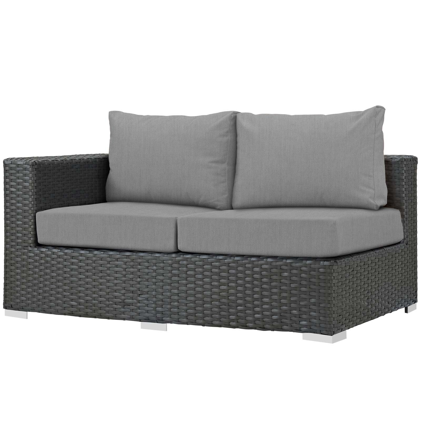 Current Tripp Right Arm Loveseat Sectional Piece With Cushions Throughout Mullenax Outdoor Loveseats With Cushions (View 1 of 20)
