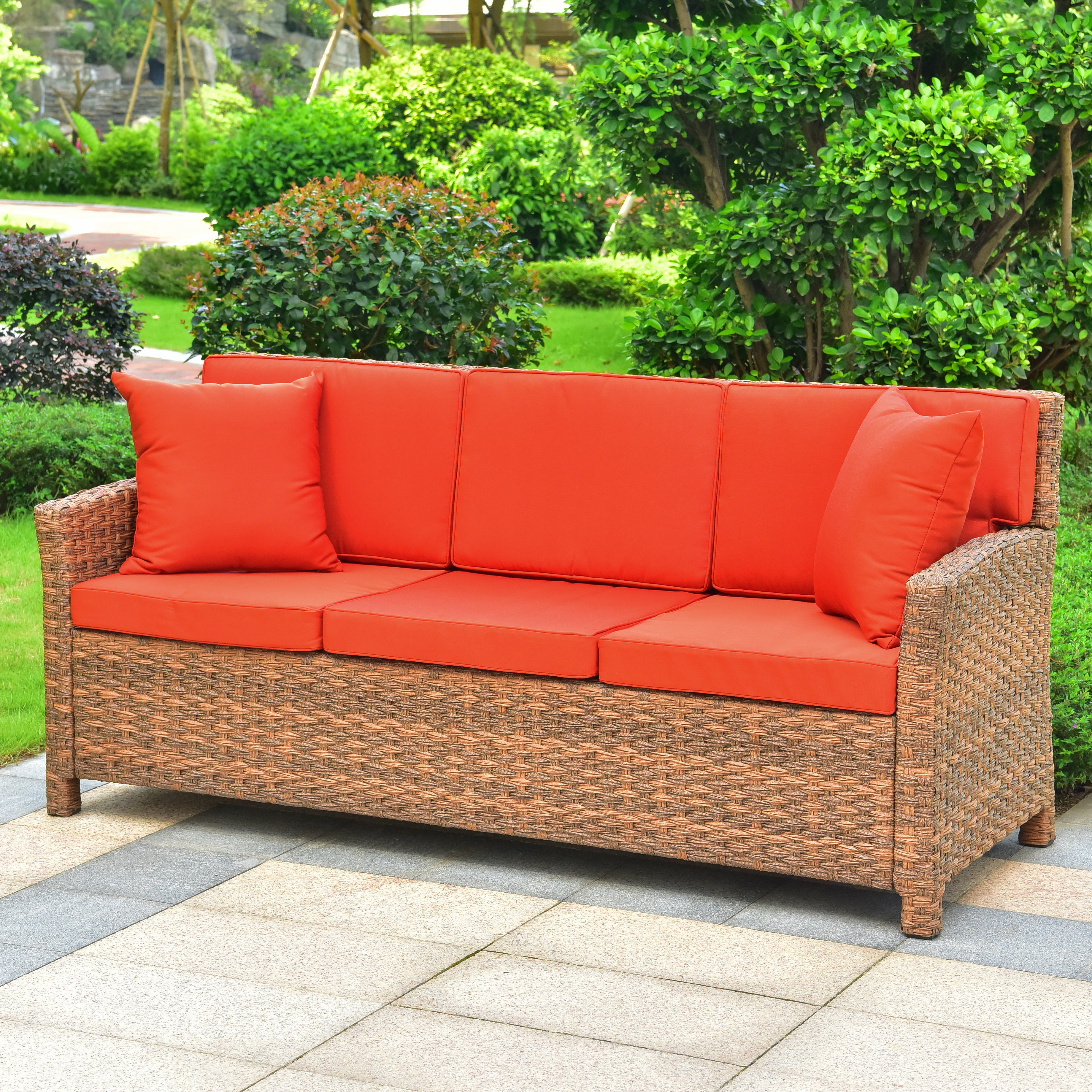 Deanna Resin Wicker Patio Sofa With Cushions Within Most Current Katzer Patio Sofas With Cushions (View 6 of 20)