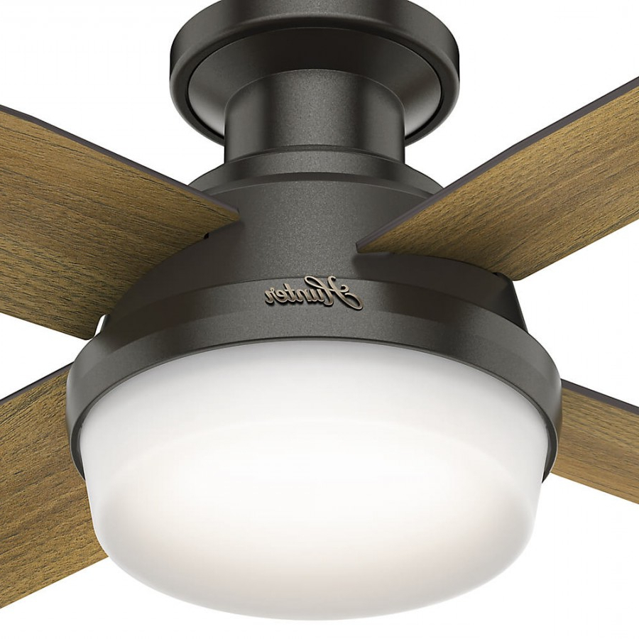 Dempsey Low Profile 4 Blade Ceiling Fans With Remote In Most Recent Hunter 59445 Dempsey Low Profile 2 Led Light 44 Inch Ceiling Fan In Noble  Bronze With 4 Mid Century Walnut Blade And Cased White Glass (View 7 of 20)