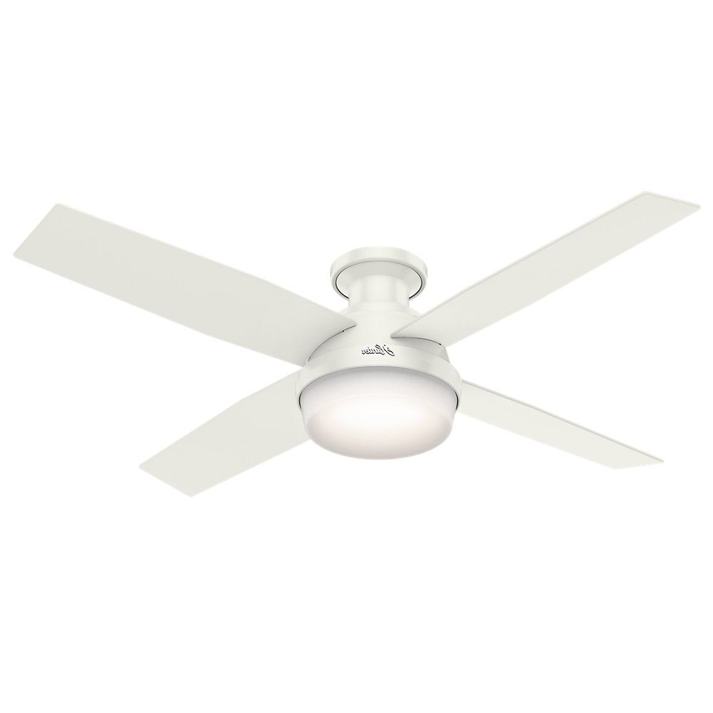 "Dempsey Low Profile 4 Blade Ceiling Fans With Remote Pertaining To Most Recent 52"" Dempsey 4 Blade Ceiling Fan With Remote, Light Kit Included (View 8 of 20)"