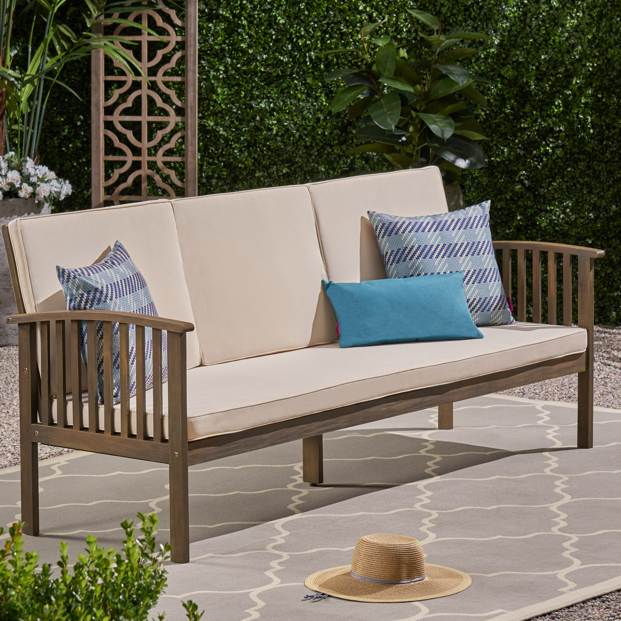 Denice Patio Sofa With Cushions With Regard To 2019 Silloth Patio Sofas With Cushions (View 7 of 20)