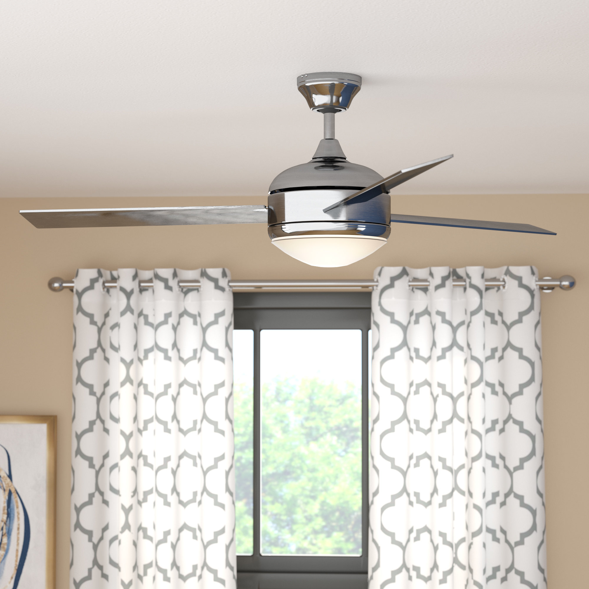 "Dennis 3 Blade Ceiling Fans With Regard To Preferred 48"" Dennis 3 Blade Ceiling Fan With Remote, Light Kit Included (View 11 of 20)"