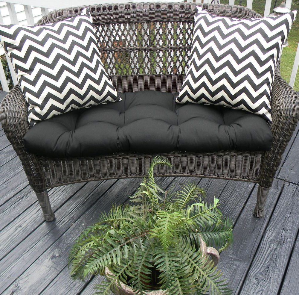 Details About Black Solid Outdoor Cushions For Wicker In Most Popular Alburg Loveseats With Cushions (View 13 of 25)