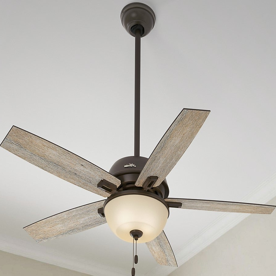 "Donegan 5 Blade Ceiling Fans Within Newest Hunter Fan Donegan Collection 52"" Onyx Bengal W/5 Barnwood/dark Walnut  Reversible Blades – Brown (View 10 of 20)"