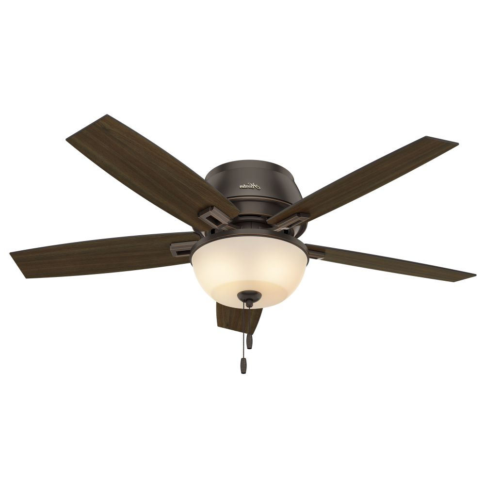 Donegan 5 Blade Led Ceiling Fans Intended For Well Liked Donegan 52 Inch 2 Led Light Ceiling Fan In Onyx Bengal With 5 Dark Walnut Blade And Amber Painted Glass (View 18 of 20)