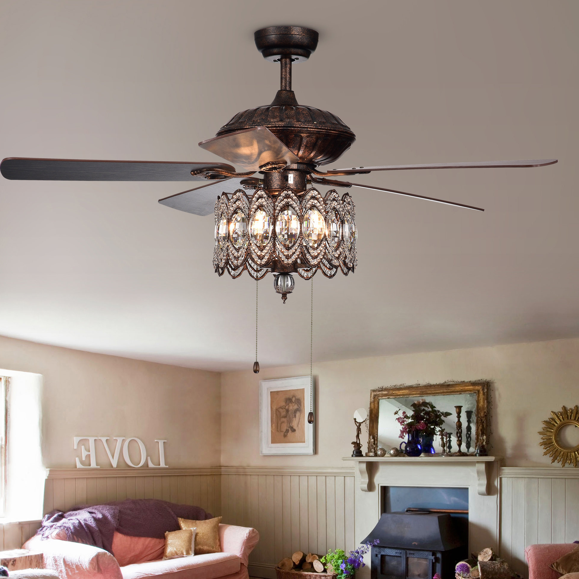 """Dyno 5 Blade Ceiling Fans With Current Details About Astoria Grand 52"""" Geraghty 5 Blade Ceiling Fan (View 20 of 20)"""