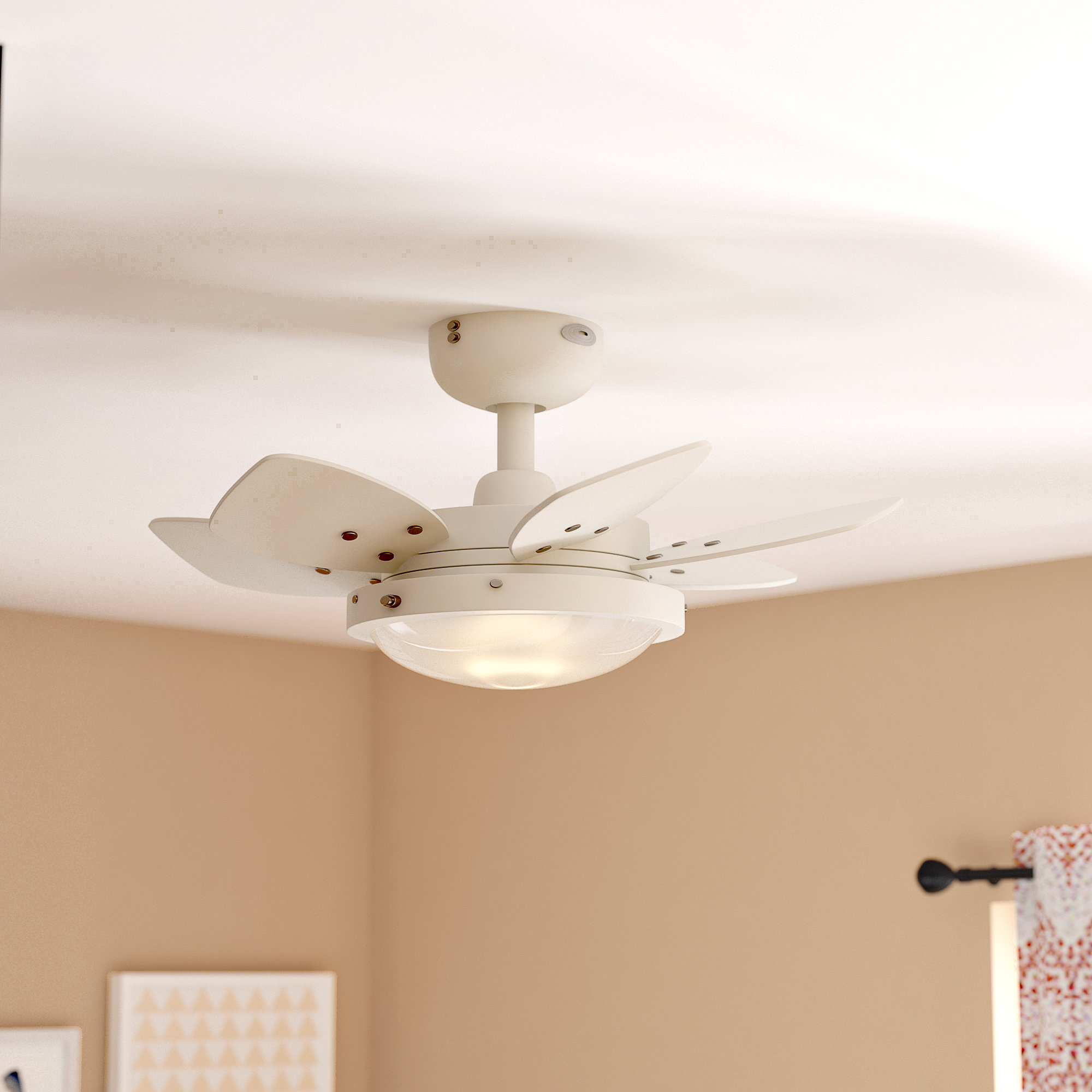 "Ebern Designs 24"" Chenut 6 Blade Ceiling Fan Light Kit Included In Most Up To Date Saito 6 Blade Ceiling Fans (View 6 of 20)"