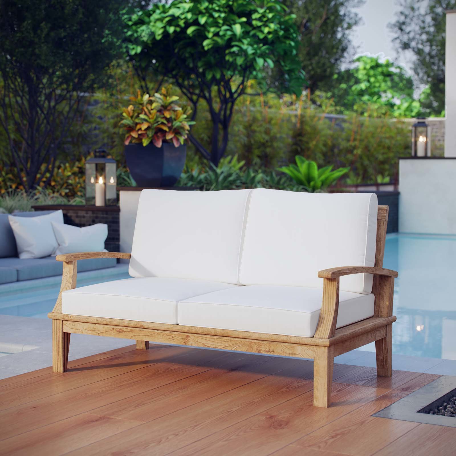 Elaina Teak Loveseat With Cushions In Recent Summerton Teak Patio Sofas With Cushions (View 4 of 20)