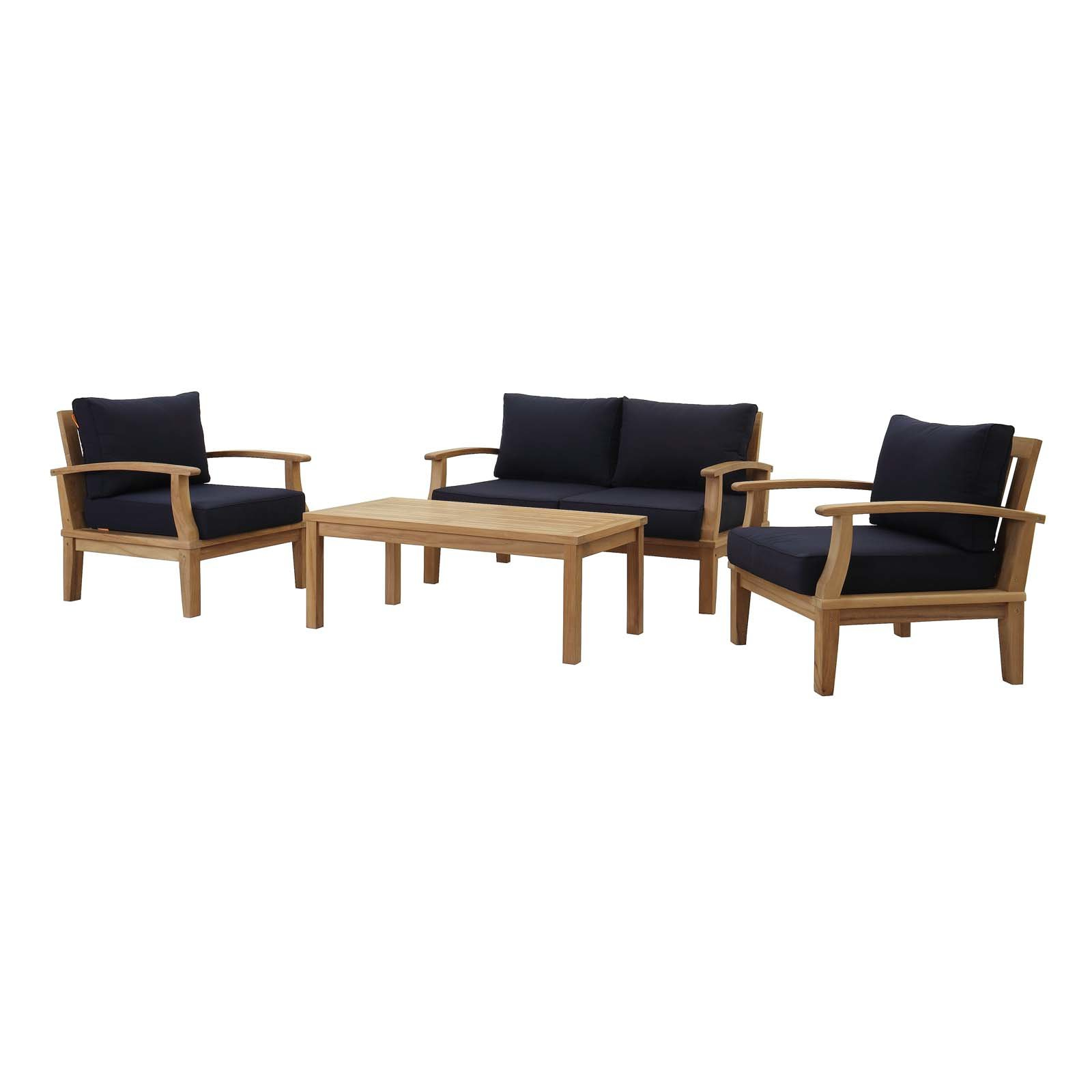Elaina Teak Loveseats With Cushions In Well Liked Elaina 4 Piece Teak Sofa Seating Group With Cushions (View 5 of 20)