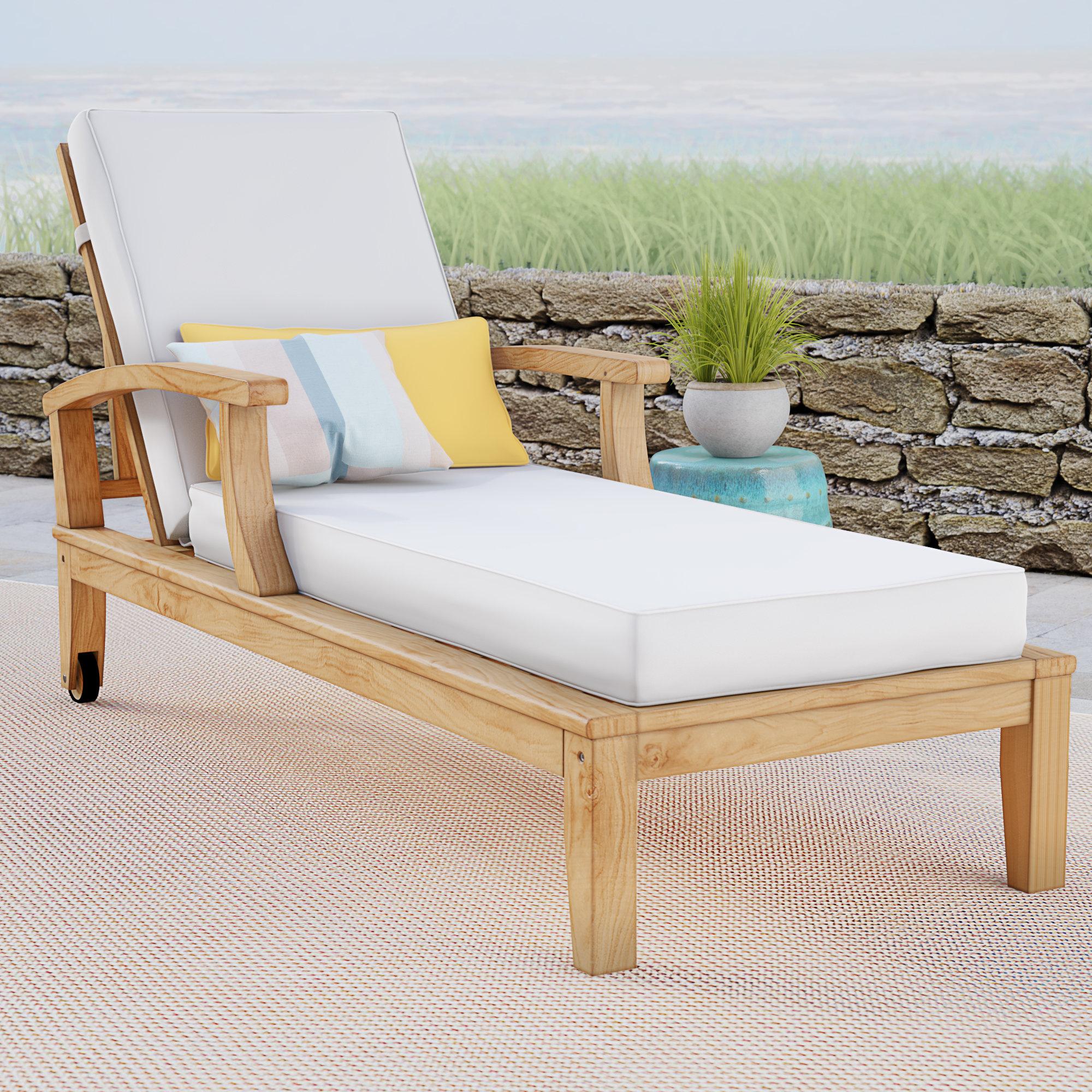Elaina Teak Loveseats With Cushions Pertaining To 2020 Elaina Reclining Teak Chaise Lounge With Cushion (View 6 of 20)