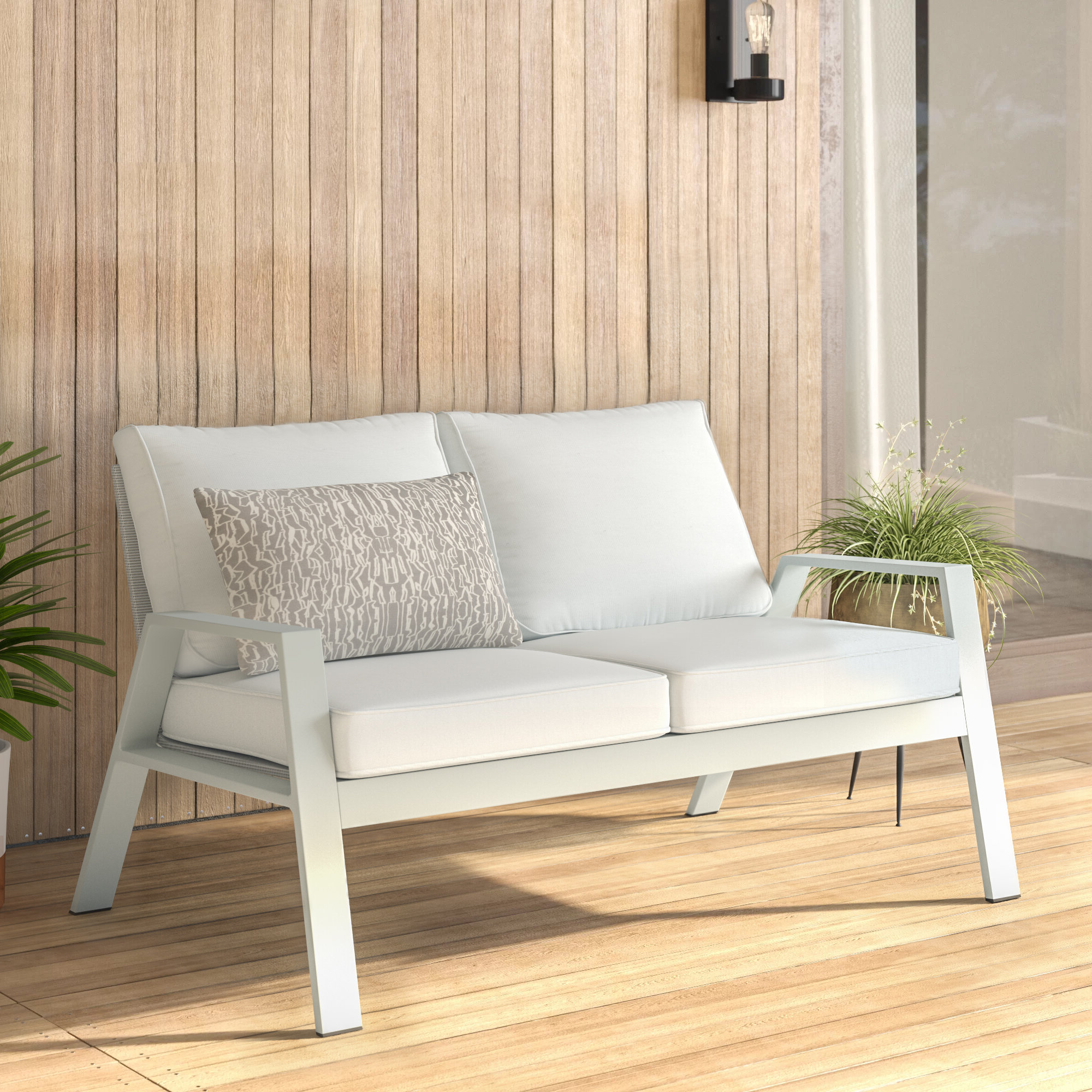 Elaina Teak Loveseats With Cushions Throughout Popular Reynosa Loveseat With Cushions (View 7 of 20)