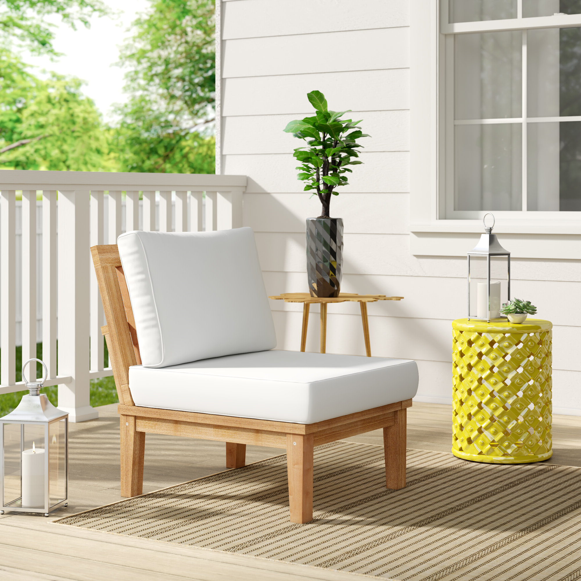 Elaina Teak Loveseats With Cushions With Regard To Best And Newest Elaina Teak Patio Chair With Cushions (View 8 of 20)