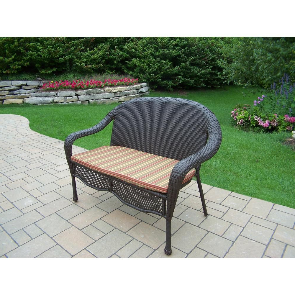 Elite Wicker Outdoor Loveseat With Green Stripe Cushion Intended For Newest Mullenax Outdoor Loveseats With Cushions (View 19 of 20)