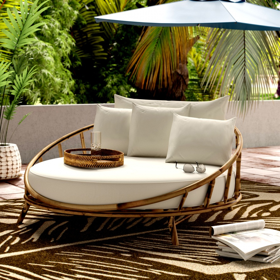 Ellanti Teak Patio Daybeds With Cushions In Famous Patio Day Bed Find Olu Bamboo Large Round Daybed With (Gallery 10 of 20)