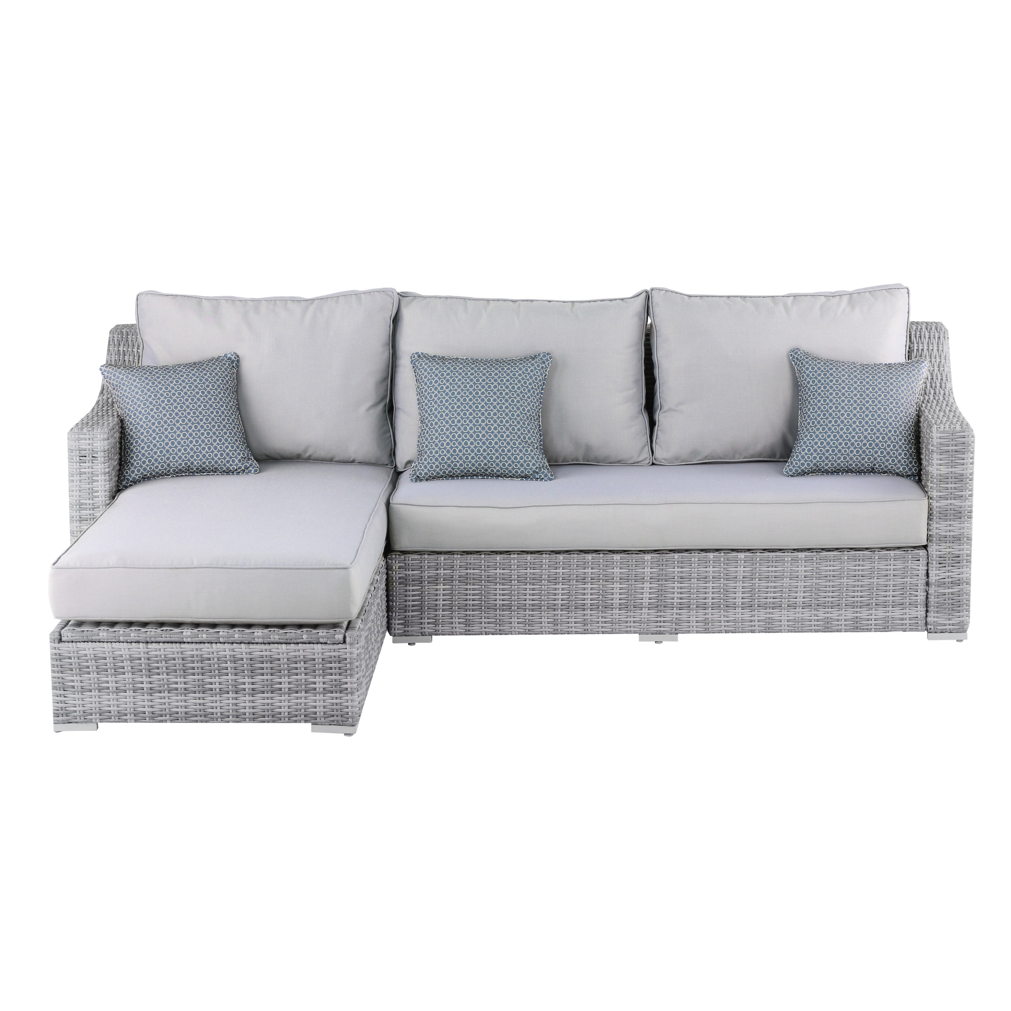 Elle Decor Vallauris Grey Wicker Outdoor Storage Sectional In Current Vallauris Sofa With Cushions (View 3 of 20)