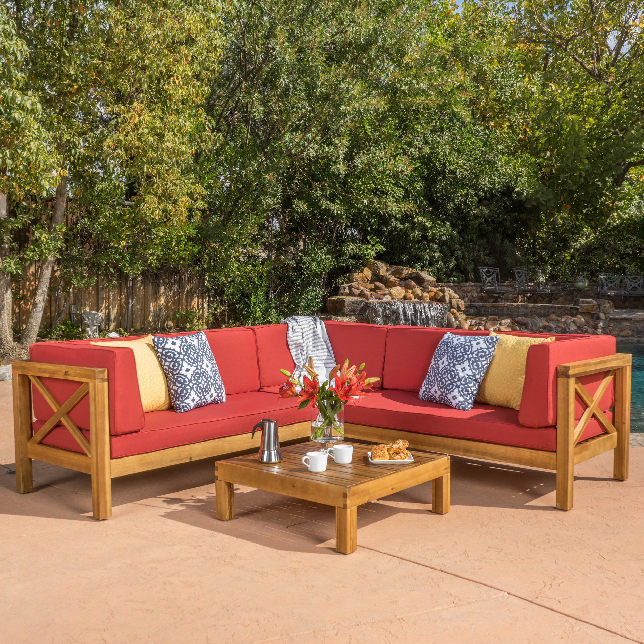 Ellison 4 Piece Sectional Seating Sofa Set With Cushions Inside Popular Ellison Patio Sectionals With Cushions (View 4 of 20)